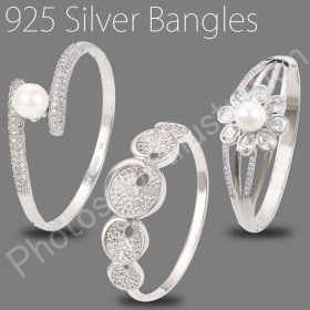STERLING SILVER BANGLES,BRACELETS(925 SILVER WITH RODIUM PLATED)